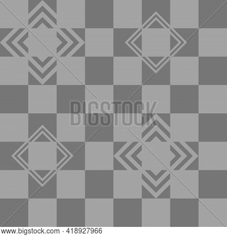 Checkered Pattern In Monochrome Color. Seamless Gray Background, Thick And Thin Lines, Diamond Shape