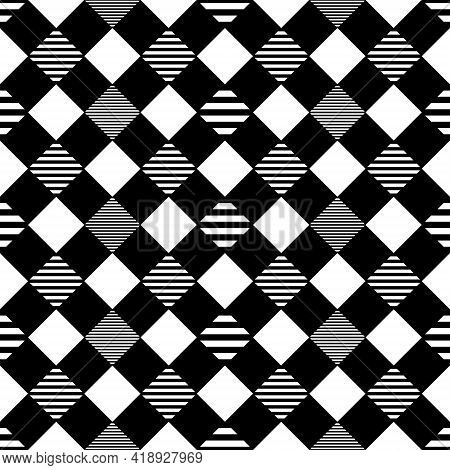 Seamless Abstract Background. Checkered Pattern Diamond Shape. Monochromatic Color Black And White.