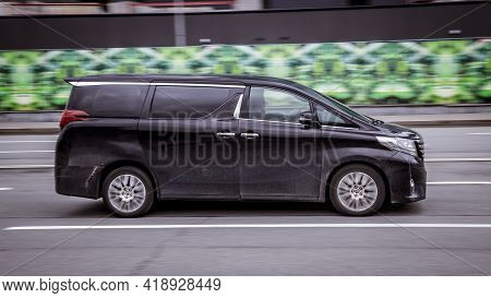 Moscow, Russia - April 2021: Black Toyota Alphard Minivan Produced By The Japanese Automaker, Side V