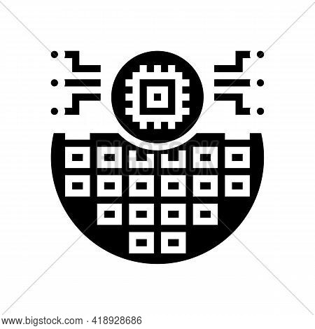 Electronic Chip Semiconductor Manufacturing Glyph Icon Vector. Electronic Chip Semiconductor Manufac