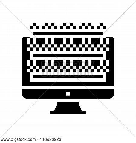 Testing Computer Screen Semiconductor Manufacturing Glyph Icon Vector. Testing Computer Screen Semic