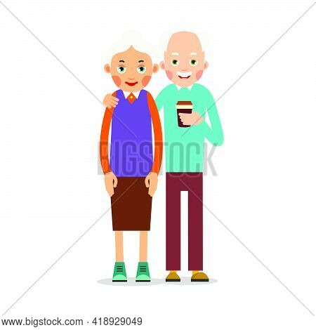 Couple Older People. Two Aged People Stand. Elderly Man And Woman Stand Together. A Husband Drinks C