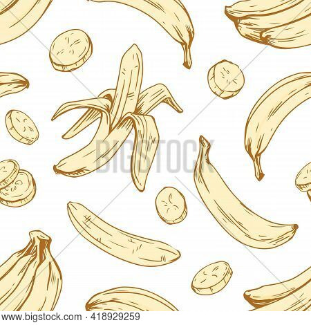 Seamless Banana Pattern On White Background. Endless Repeatable Texture With Peeled Fruits And Their