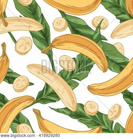 Seamless Pattern With Fresh Bananas And Green Leaves On White Background. Endless Fruity Design For