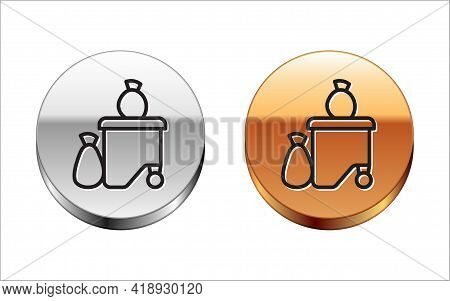 Black Line Dumpsters Being Full With Garbage Icon Isolated On White Background. Garbage Is Pile Lots