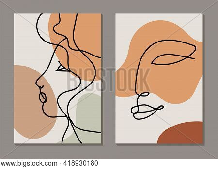 Modern Line Art Face. Set Of Abstract Backgrounds With Minimal Shapes And Lines. Home Decor Design.