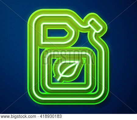Glowing Neon Line Bio Fuel Canister Icon Isolated On Blue Background. Eco Bio And Barrel. Green Envi