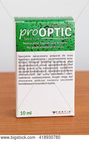 Pruszcz Gdanski, Poland - April 26, 2021: Fortis Prooptic Eye Drops.
