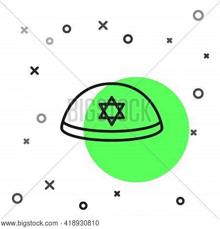 Black Line Jewish Kippah With Star Of David Icon Isolated On White Background. Jewish Yarmulke Hat.