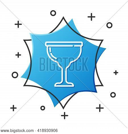 White Line Jewish Goblet Icon Isolated On White Background. Jewish Wine Cup For Kiddush. Kiddush Cup