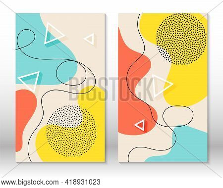 Set Of Doodle Fun Patterns. Hipster Style 80s-90s. Memphis Elements. Fluid Coral, Blue, Yellow Color