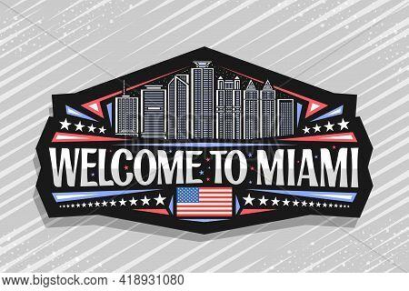 Vector Logo For Miami, Black Decorative Sticker With Outline Illustration Of Miami City Scape On Dus