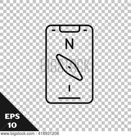 Black Line Compass Screen Apps On Smartphone For Navigation Icon Isolated On Transparent Background.