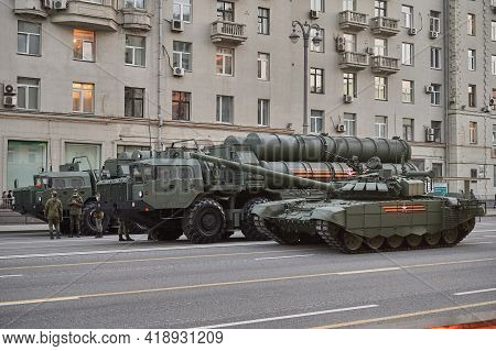 Russian Federation, Moscow, 2021.04.29. Victory Day Parade Rehearsal. Fighting Vehicles Stand On The