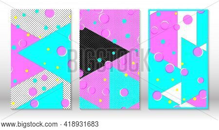 Set Of Memphis Patterns. Abstract Colorful Fun Background. Hipster Style 80s-90s. Memphis Elements.
