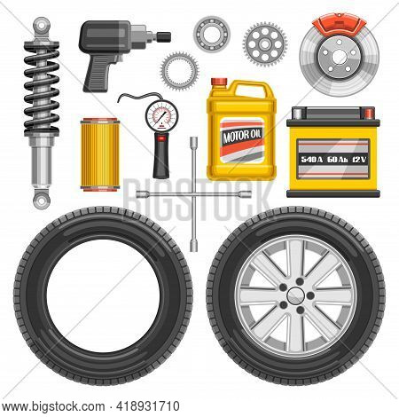 Vector Set Of Auto Parts, Lot Collection Of Cut Out Illustrations Of Auto Parts And Tools On White B