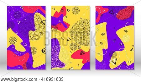 Set Of Doodle Fun Patterns. Hipster Style 80s-90s. Memphis Elements. Fluid Red, Purple Yellow Colors
