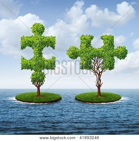 Growth connection with two trees in the shape of jigsaw puzzle pieces floating on an ocean moving together to merge into one strong partnership as a business concept of teamwork. poster