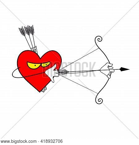 Red Heart Bow And Arrow Illustration. The Bow And Arrow Are Crossed. Putting A Bow To Shoot. This Cu