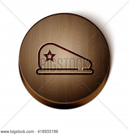 Brown Line Military Beret Icon Isolated On White Background. Soldiers Cap. Army Hat. War Baret. Wood