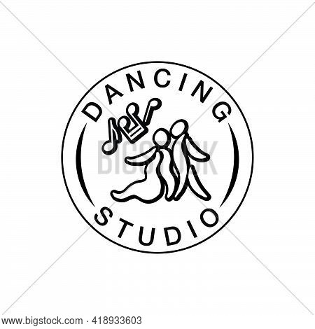 Vector Illustration Of Dancing Studio Round Emblem With Icon Of A Couple For Logo, Advertisement, Bu