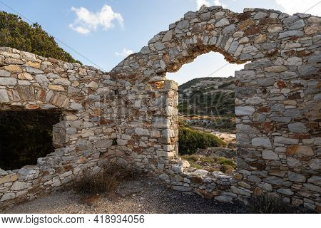 Ruins Of A Byzantine House At The Ancient Paros Marble Quarries, Famous For Some Of The Purest Marbl