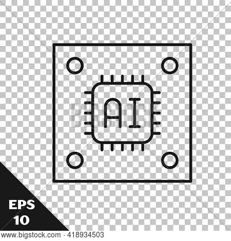 Black Line Computer Processor With Microcircuits Cpu Icon Isolated On Transparent Background. Chip O
