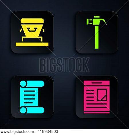 Set Obituaries, Coffin, Decree, Parchment, Scroll And Hammer. Black Square Button. Vector