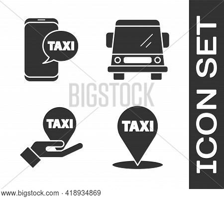 Set Map Pointer With Taxi, Taxi Call Telephone Service, Hand On Map Pointer With Taxi And Car Icon.