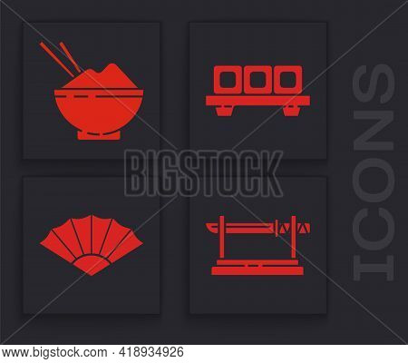 Set Traditional Japanese Katana, Rice In A Bowl With Chopstick, Sushi On Cutting Board And Paper Chi