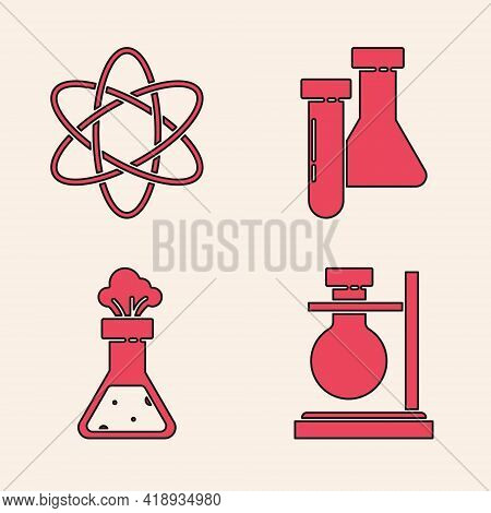Set Test Tube Flask On Stand, Atom, Test Tube And Flask Chemical And Test Tube And Flask Chemical Ic