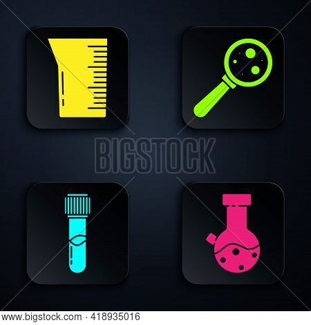 Set Test Tube And Flask Chemical, Laboratory Glassware Or Beaker, Test Tube And Flask Chemical And M
