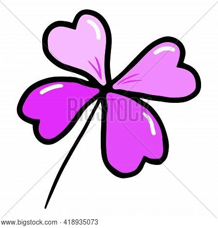 Purple Clover, Four Leaf With Patterns, Vector Illustration Isolated On White Background, Summer Luc