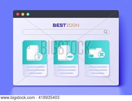 Set Document With Minus, Unknown Document And Delete Folder Icon. Vector