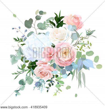 Dusty Blue, Peachy Blush Rose, White Hydrangea, Ranunculus, Wedding Flowers, Greenery