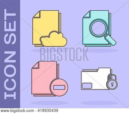 Set Folder And Lock, Cloud Storage Text Document, Document With Minus And Document With Search Icon.