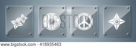 Set Japanese Ninja Shuriken, Peace, Round Wooden Shield And Japanese Ninja Shuriken. Square Glass Pa