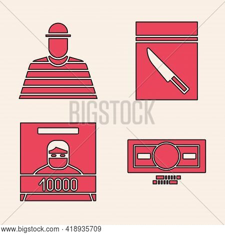 Set Stacks Paper Money Cash, Prisoner, Evidence Bag And Knife And Wanted Poster Icon. Vector