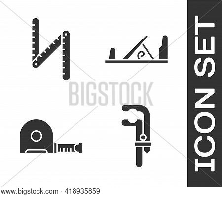 Set Clamp Tool, Folding Ruler, Roulette Construction And Wood Plane Tool Icon. Vector