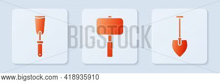 Set Sledgehammer, Putty Knife And Shovel. White Square Button. Vector
