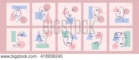 Abstract Woman Portrait By Simple Lines. Minimal Style Portrait. Geometric Shapes, Trendy Style. Wom