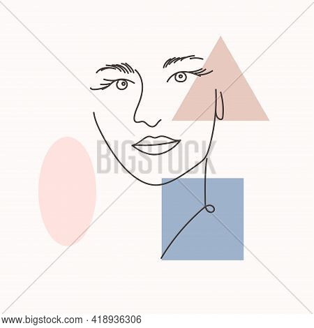 Woman Portrait In Modern Abstract Style. Hand Drawn Illustration For Your Contemporary Fashion Desig