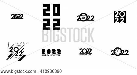 Collection Of 2022 Happy New Year Signs. Greeting Card Artwork, Brochure Template. Big Set Logo Text