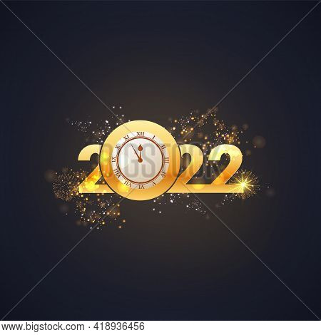 Greeting Card Happy New Year 2022. Beautiful Holiday Web Banner Or Billboard With Text Happy New Yea