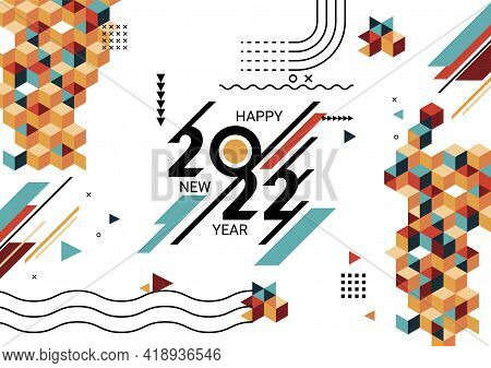 Happy New Year 2022 Banner With Modern Geometric. Abstract Background In Retro Style. Happy New Year