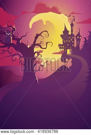 Halloween Vertical Background With An Owl, Haunted House And Full Moon. Flyer Or Invitation Template