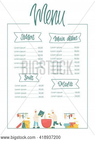 Menu Handwritten Sign With Ribbon - Starters, Soups, Main Dishes, Desserts And Funny Cooks With Kitc