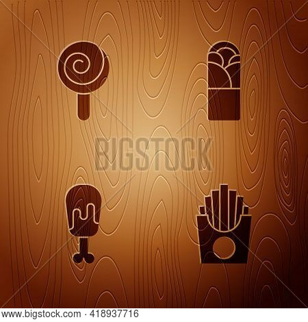 Set Potatoes French Fries In Box, Lollipop, Chicken Leg And Doner Kebab On Wooden Background. Vector