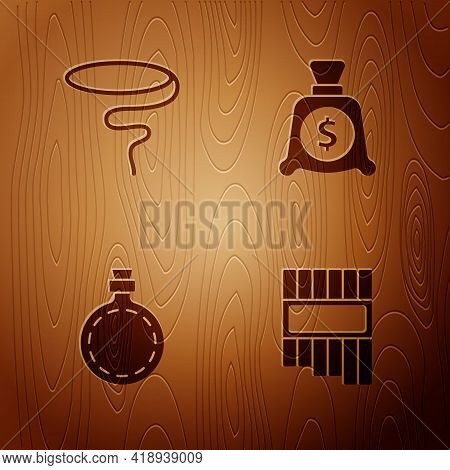 Set Pan Flute, Lasso, Canteen Water Bottle And Money Bag On Wooden Background. Vector
