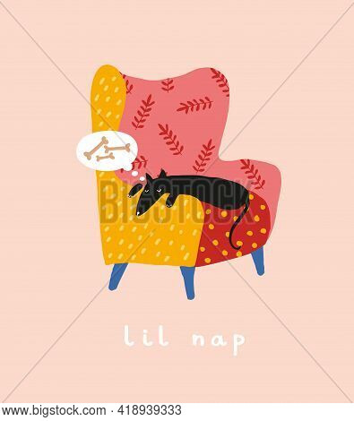 Abstract Vector Art With Funny Black Dog. Hand Drawn Happy Dog Sleeping On A Colorful Easy Chair. Lo